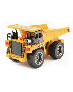 RC Dump Truck with Metal Cab & Wheels, Lights - 1/18th Scale 6 Channels