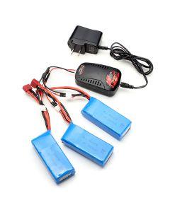 Syma X8C X8W X8G X8HC X8HW X8HG 3x 7.4V 2000mAh Battery +1 to 3 Balance Charger US Plug Charger